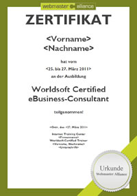 Zertifikat Worldsoft Certified eBusiness-Consultant