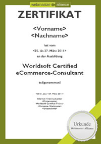 Zertifikat Worldsoft Certified eCommerce-Consultant